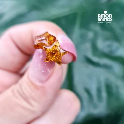 Brinco Estrela de Âmbar Conhaque e Prata Esterlina 925