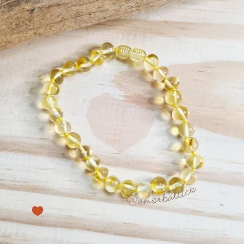 Tornozeleira Adulto Limão Polido Contas Grandes - 23 cm